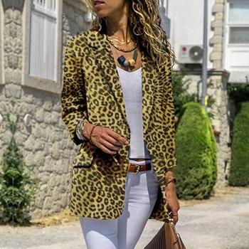 Women Long Sleeve Cardigans Leopard Coat Open Front Jackets Outwear OverCoat manteau femme hiver 2018 manteau femme jeans con blazer mujer