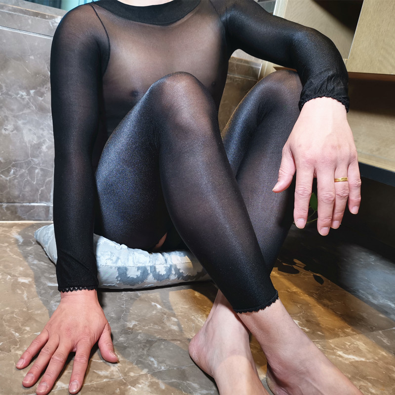Sexy Lingerie 70D Male Super Shiny Glossy Body Stockings With Penis Sheath Sissy Fetish Sheer Nylon Jumpsuit Crotchless Bodysuit
