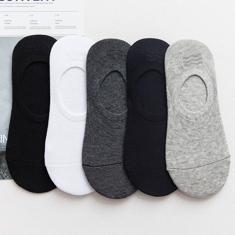 10pcs=5 Pairs/Lot Summer Men Cotton Ankle Socks For Men's Non-slip Silicone Solid Animal Short Socks Male Sock Slippers Meias