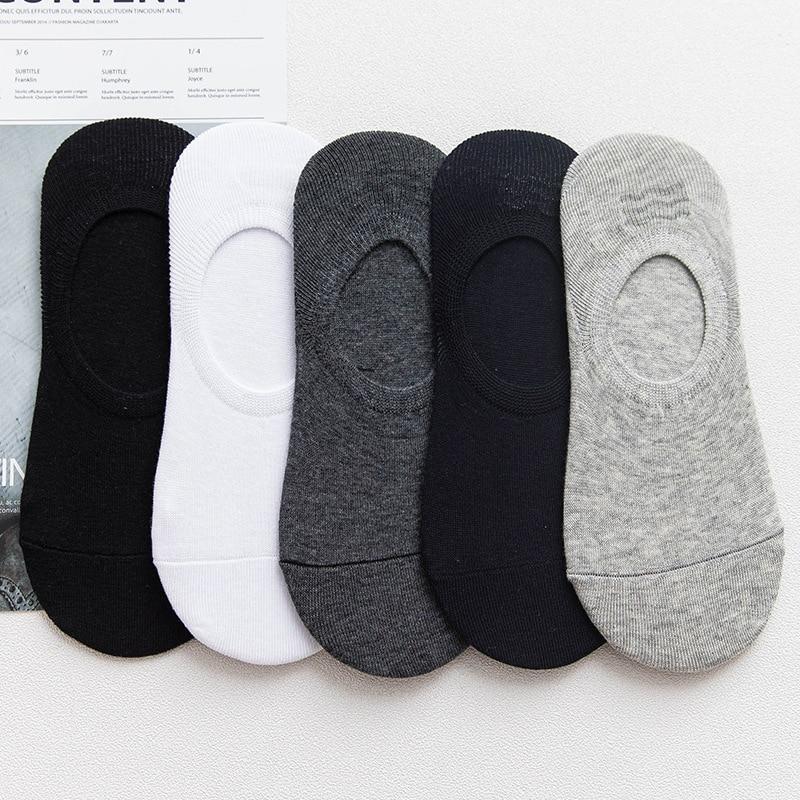 10pcs=5 Pairs/Lot Summer Men Cotton Ankle Socks For Men's Non-slip Silicone Solid Animal Short Socks Male Sock Slippers Meias
