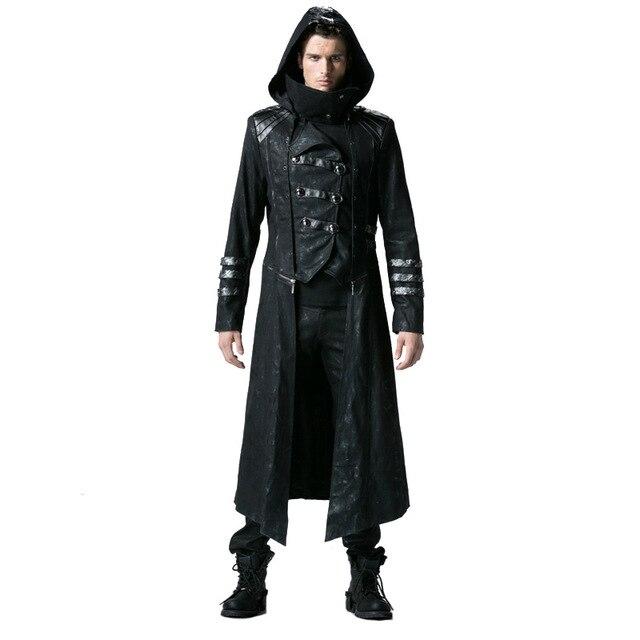 Мужские тренчи в стиле стимпанк черные Саржевые пальто с кожаным готическим капюшоном съемные длинные зимние пальто