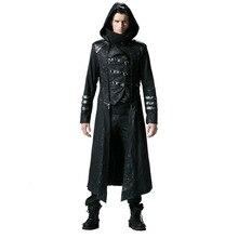 Steampunk 남자 트렌치 코트 블랙 strentch 능 직물 코트와 가죽 고딕 후드 분리형 긴 겨울 코트