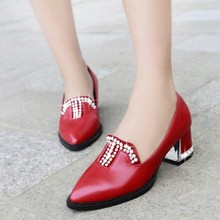 ปั๊มPUผู้หญิงรองเท้า32 33 47 46 45 44 43 40 41ใหม่ส้นสูง5.5เซนติเมตรหนาส้นEURขนาด31-48