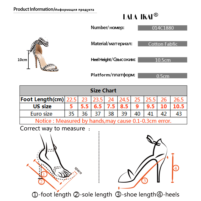 f572b4caa LALA IKAI Scottish Plaid High Sandals Women Cross-Tied Heels Ladies Ankle  Strap Lace Up Party Bow High Shoes 0504