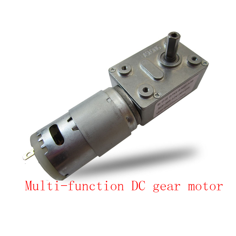 395 miniature DC gear motor, low speed motor, CW/CCW 12V worm gear motor, large torque self-locking metal gear motor