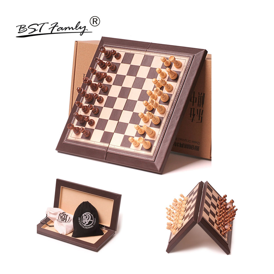 BSTFAMLY Chess Set Game of International Chess Magnetic Folding Leather Feeling Chessboard Wood Chess Pieces Chessman I21 bstfamly carving wooden chess set game portable game of international chess folding chessboard wood chess pieces chessman i13