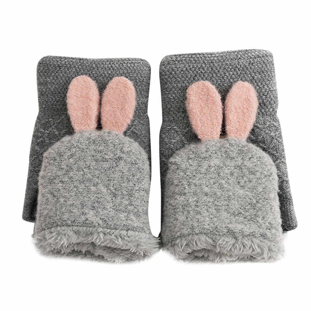 Nouveau hiver lapin gants femme mitaines chaud Flip couverture gants chaud et mature gants 2019 décontracté cadeau