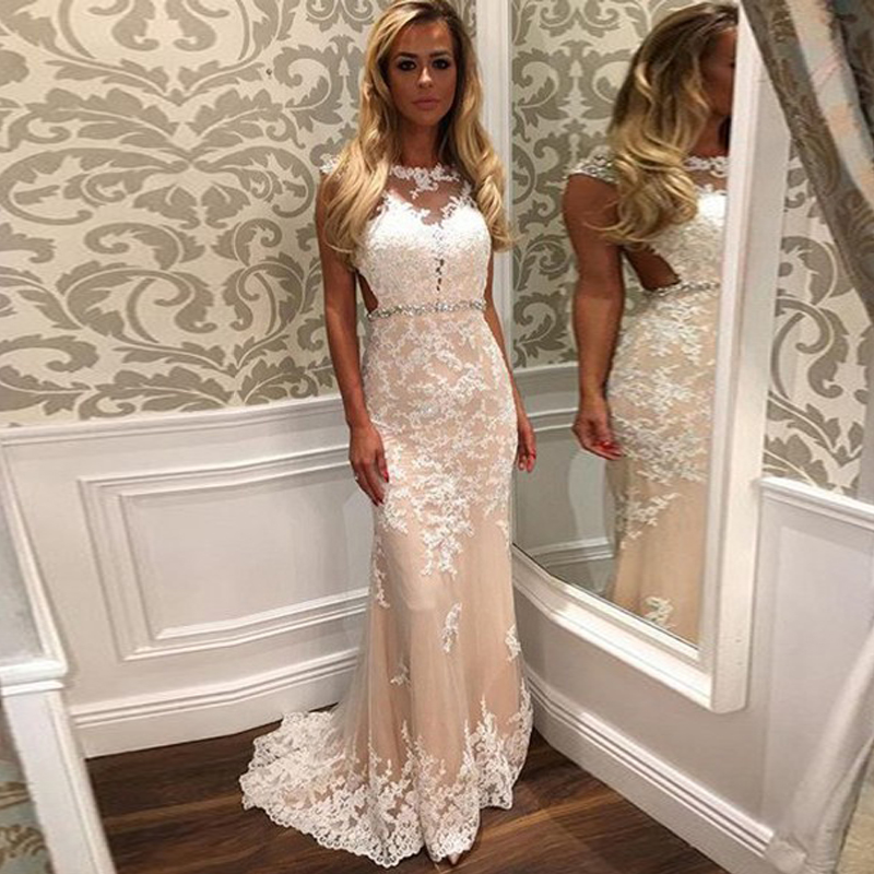 Lace Champagne Mermaid Prom Dresses 2016