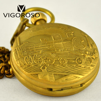 Collectible Antique Hand Winding Mechanical Pocket Watch Old Copper Carved Steampunk Steam Train Fob Chain Pendant