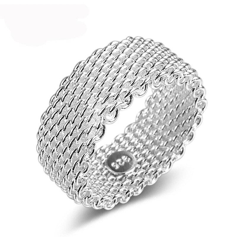 Mode Bague 925 en argent Sterling couleur bijoux tissé maille ceinture Reticulocyte anneaux pour les femmes Anillos Mujer Bague Anel Bague Aneis