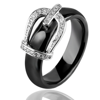 New Ring Jewelry Stainless Steel Belt Crown CZ Stone Ring Black White Big Size 10 1112