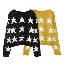 women's autumn winter high quality basic wool knitted star warm short style yellow color pullover jumper sweater