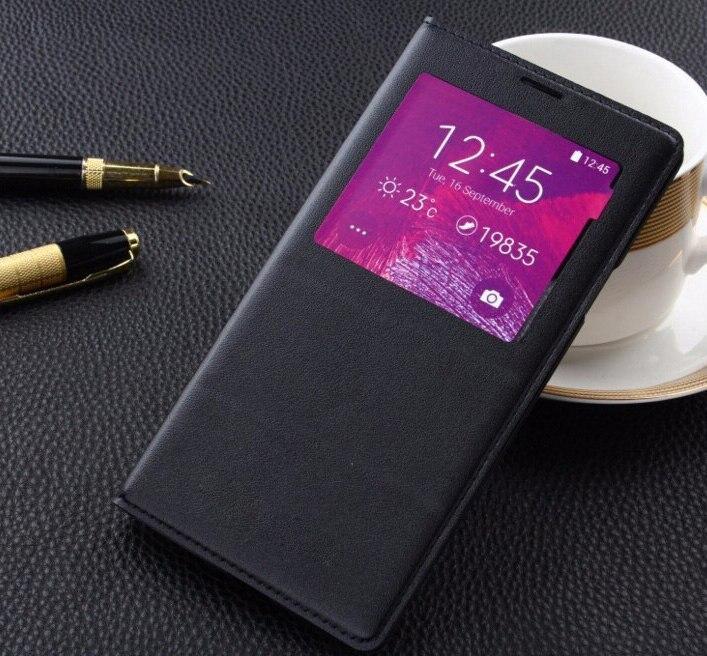 Cuero de lujo de la PU para Samsung Galaxy Note 4 caso Smart Clear vista ventana con Chip IC para Samsung nota 4 caso Coque