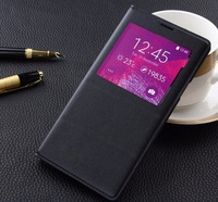 Luxury PU Leather For Samsung Galaxy Note 4 Case Smart Clear View Window With IC Chip