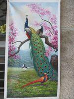 100% расписанную Павлин птица красный цветок пейзаж ручной работы Картина маслом Классическая животных ручная роспись стены дома decortion