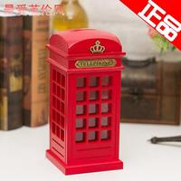 Free Shipping 1X Wooden Phone Booths Money Box Red/White/Yellow England Piggy Bank Coin Bank For Christmas Birthday Gift