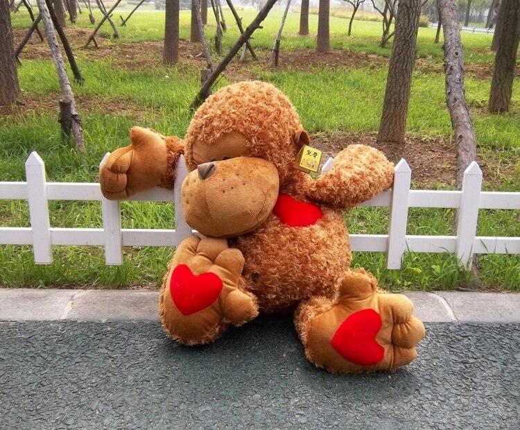 Produits de haute qualité, coeur d'amour rouge singe brun grand 100 cm en peluche, cadeau de noël h48