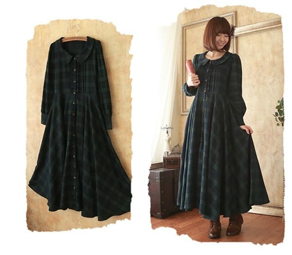 Robe Vert Deep Maxi Foncé Green Britannique Classique Japonais Mori Fille Longue Plaid Style qwaIfT