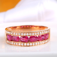 Robira Classic Luxury Wedding Band Rings for Women 18K Rose Gold Pigeon Blood Ruby Female Cool Jewelry Bijoux Femme Wholesale