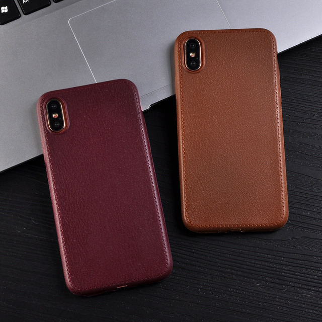 Luxury Litchi Pattern PU Leather Phone Case For iPhone X Cases Soft TPU Back Cover For iPhoneX Capa Coque