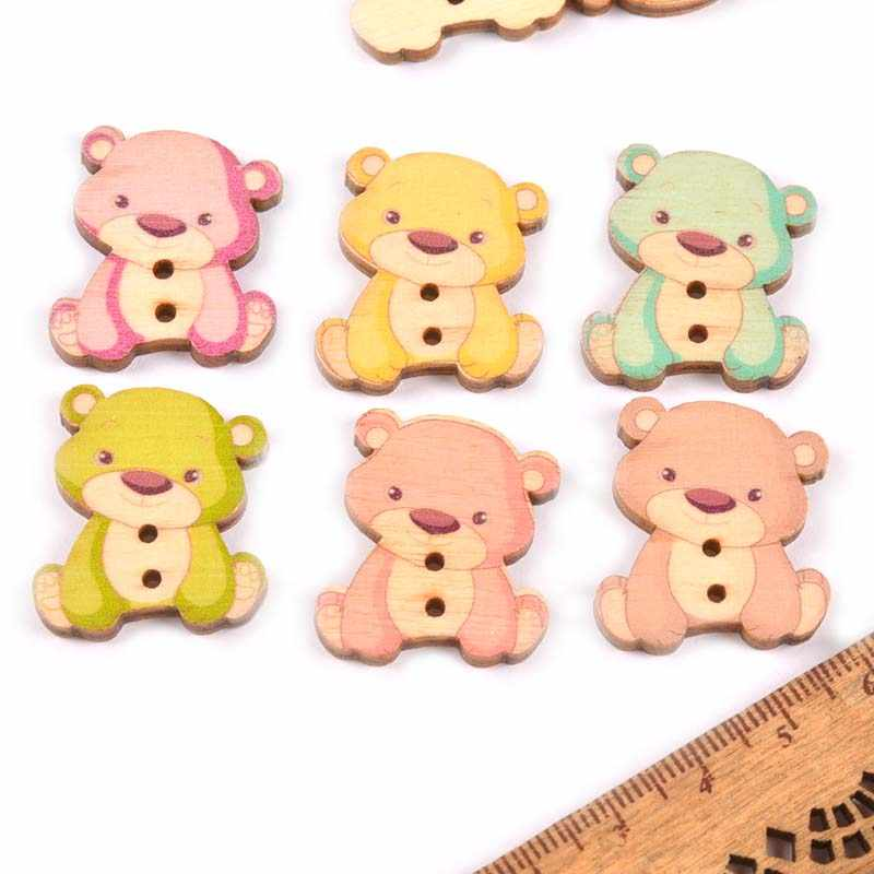 100pcs Wooden Large Buttons Bear Cartoon Pattern 2 Hole Sewing