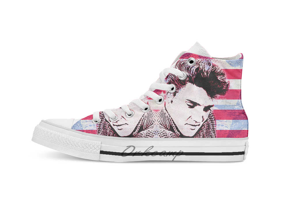 Elvis portrait     Novelty Design breathable casual High Top lace-up Canvas shoes sneakers