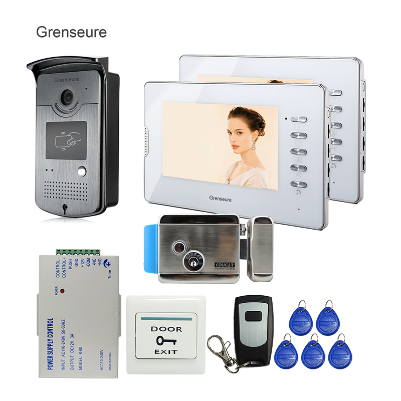 FREE SHIPPING 7 Home Color Wired Video Door phone Doorbell Intercom System 1 ID Reader Camera 2 White monitor E-LOCK Wholesale brand new wired 7 inch color video door phone intercom doorbell system 1 monitor 1 waterproof outdoor camera in stock free ship
