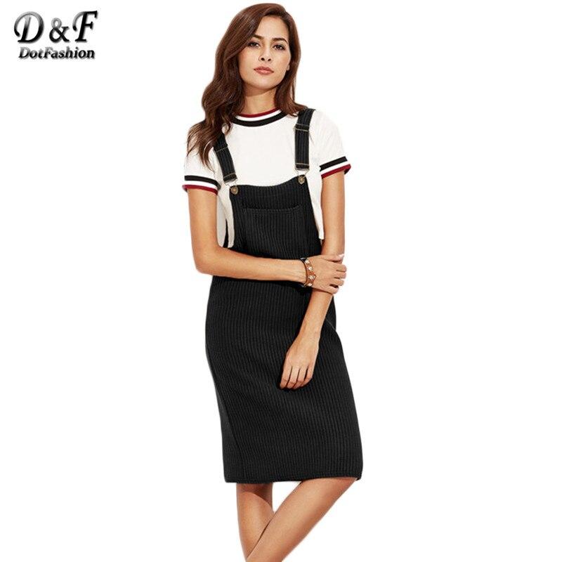 Dotfashion <font><b>Black</b></font> <font><b>Ribbed</b></font> <font><b>With</b></font> <font><b>Pocket</b></font> Slip <font><b>Overall</b></font> <font><b>Dress</b></font> Autumn Winter Women Sleeveless Basic Knee Length <font><b>Dress</b></font>