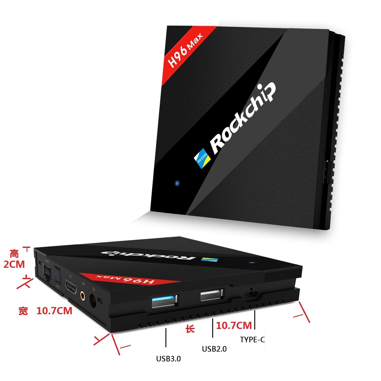 H96 MAX TV Box 4K H.265 Android7.1 TV Box RK3399 décodeur intelligent lecteur multimédia double + Quad Core Support Miracast/DLNA IPTV HDMI