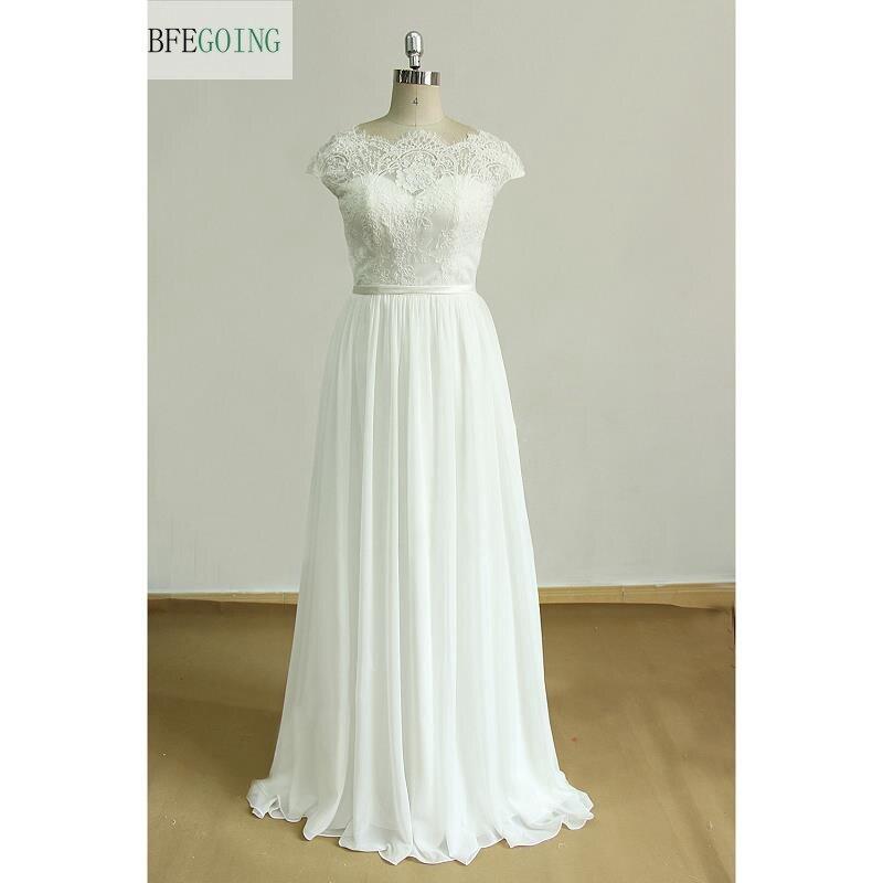 Ivory Chiffon Lace  A-line Wedding Dress Court Train Floor-Length Backless  Cap Sleeves Real/Original Photos  Custom Made