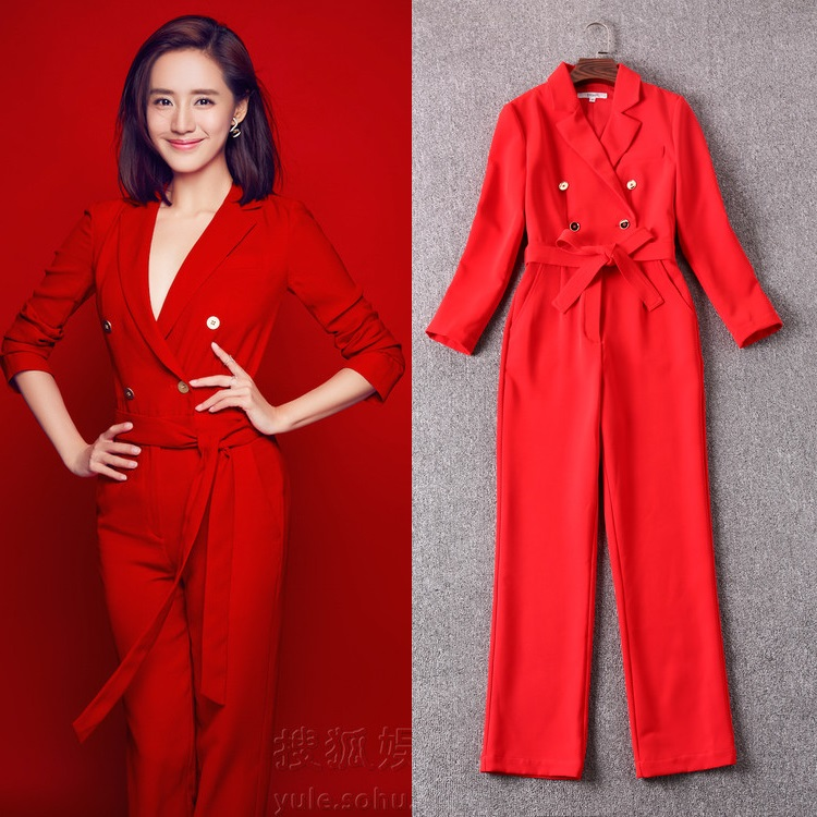 2017 Spring New   Jumpsuit   Rompers Women Lapel Collar Double Breasted Adjustable Waist Solid Red Black Overall Pant   Jumpsuit   OL