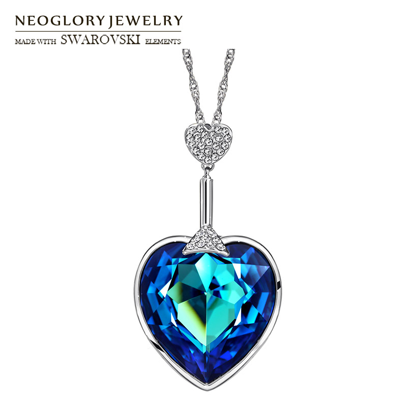 Neoglory Österrike Crystal & Auden Rhinestone Long Charm Hängsmycke Halsband Love Heart Style For Party Färgglada Lady Romantic Gift