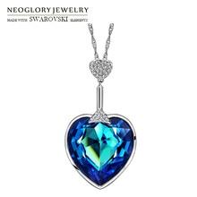 Neoglory collar con colgante largo de cristal y diamantes de imitación, corazón de amor, para fiesta, regalo romántico colorido para mujer