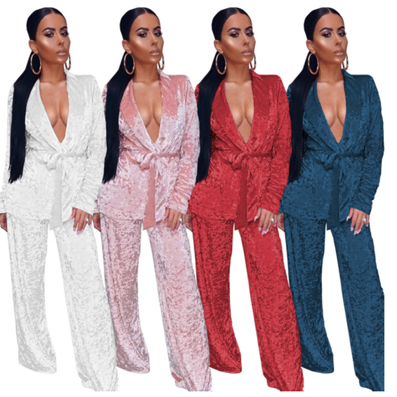 Women Winter Two Piece Set Sexy Velvet Pyjamas Suit Long Sleeve Coat And Full Length Pant Casual Home Cloth Night Club Suit