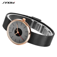 SINOBI Brand Top Luxury Ultrathin Women Watches Casual Black Quartz Wristwatches Stainless Steel Simple Style Fashion