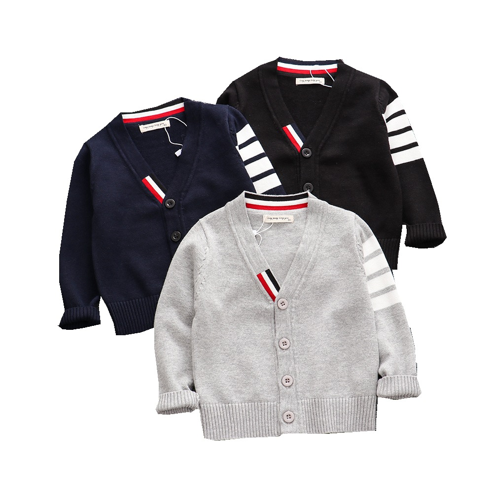 Autumn Baby Boys Sweater Toddler Boys V-Neck Jumper Knitwear Long-Sleeve Cotton Cardigans Children Clothes Kids Sweater Coat