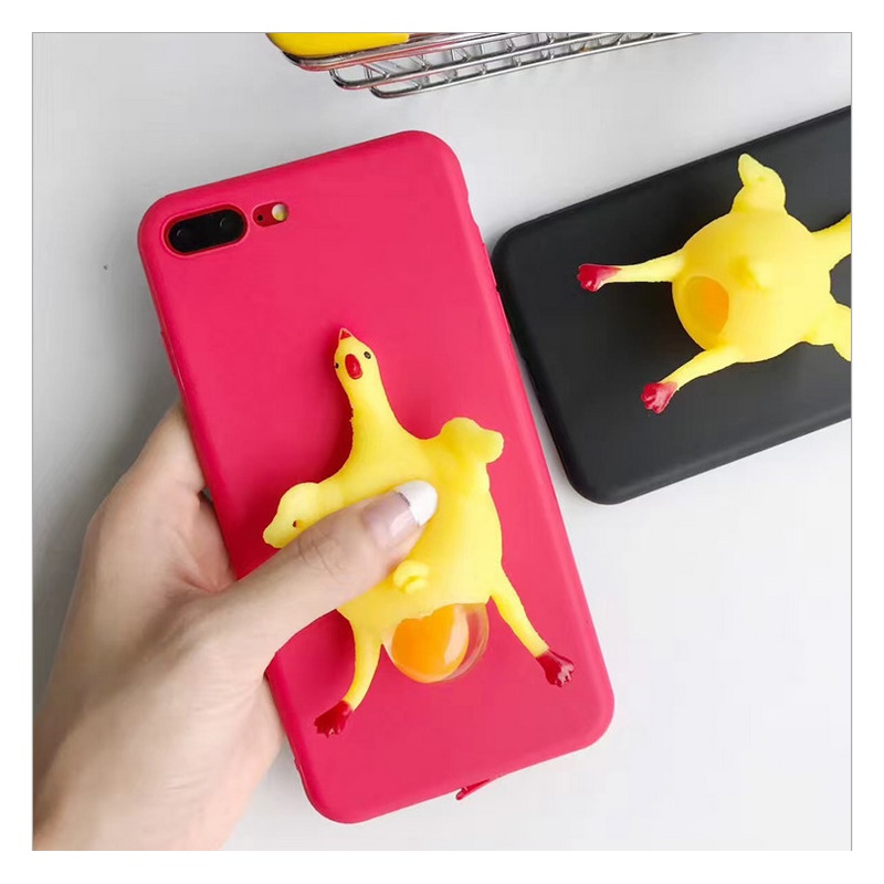 3D Cute Funny Squishy Toy Phone Case For iPhone 8 Case Soft Silicone TPU Squeeze Chicken Lay Egg ...