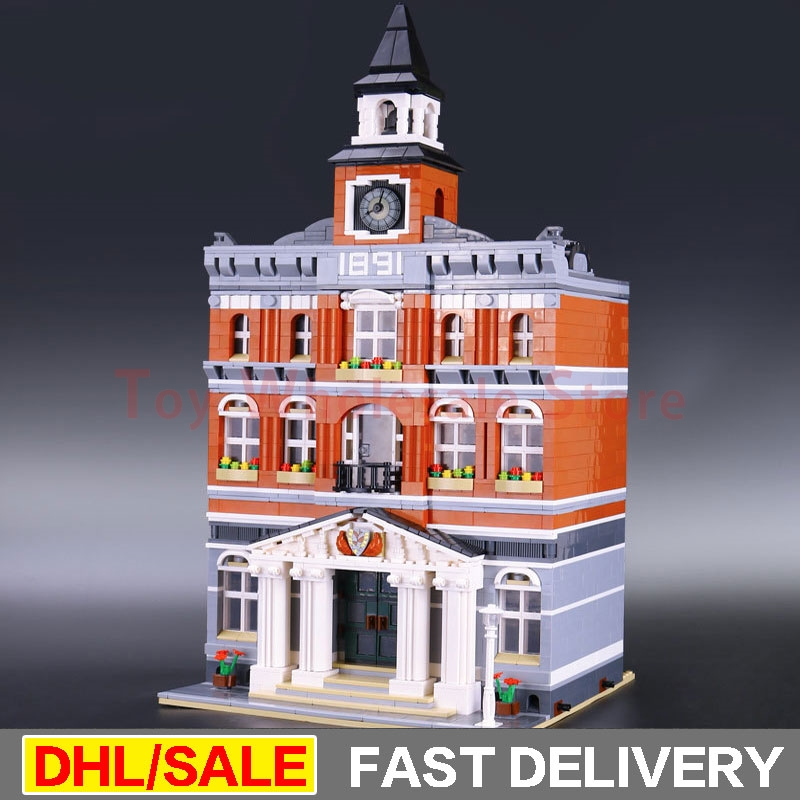 цены Lepin 15003 2859Pcs Street Town Hall Building Set City Street Blocks Model Self-Locking Bricks lepins Toy Clone 10224