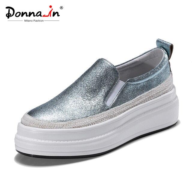 Donna-in/туфли на плоской платформе, женские лоферы из натуральной кожи, слипоны, криперы, Элегантные повседневные Мокасины для женщин, новинка весны 2019