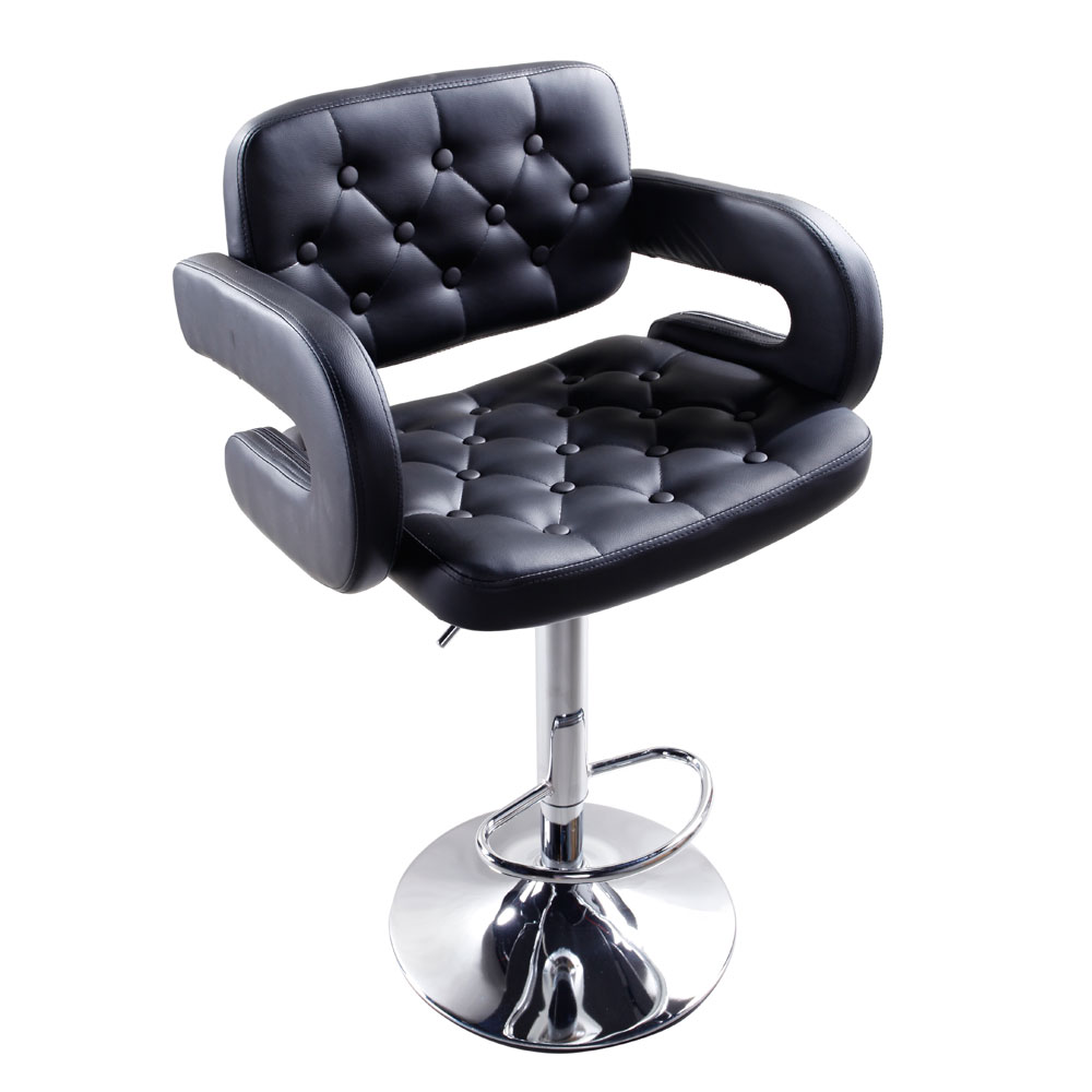 US Adjustable Metal Bar Stool 2pcs Black Faux Leather Swivel Gas Lift Bar Chair Button Tufted With Armrest Footrest Dropshipping