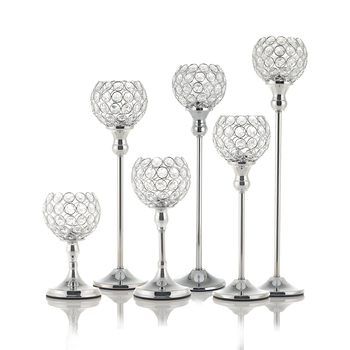 Crystal Tealight Candle Holders Coffee Dining Table Centerpieces Metal Candlesticks Stand for Father's Day Home Decoration