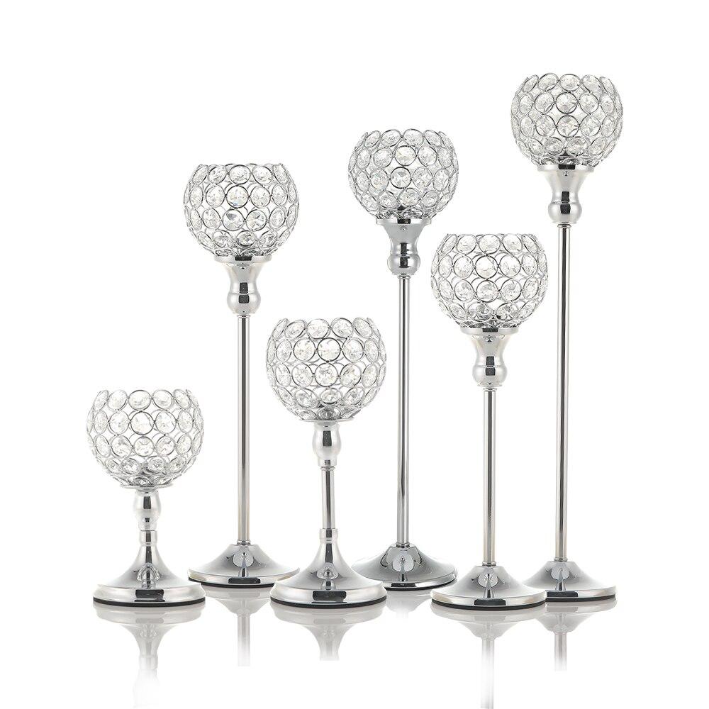 Kristal Tealight mumluklar kahve yemek masası Centerpieces Metal şamdanlar standı düğün noel cadılar bayramı dekorasyon