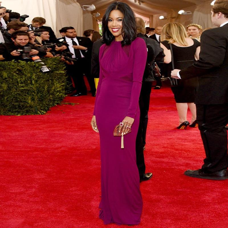 Met Gala 2015 Gabrielle Union A Line Celebrity Dresses Long Prom Dresses  Elegant Red Carpet Dresses 4316dbfefbb6