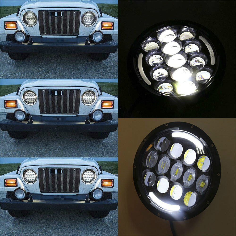 round H4 High Low Beam with Angle Eyes 7 Inch 78W LED DRL Projector Headlight For Jeep Wrangler (1)