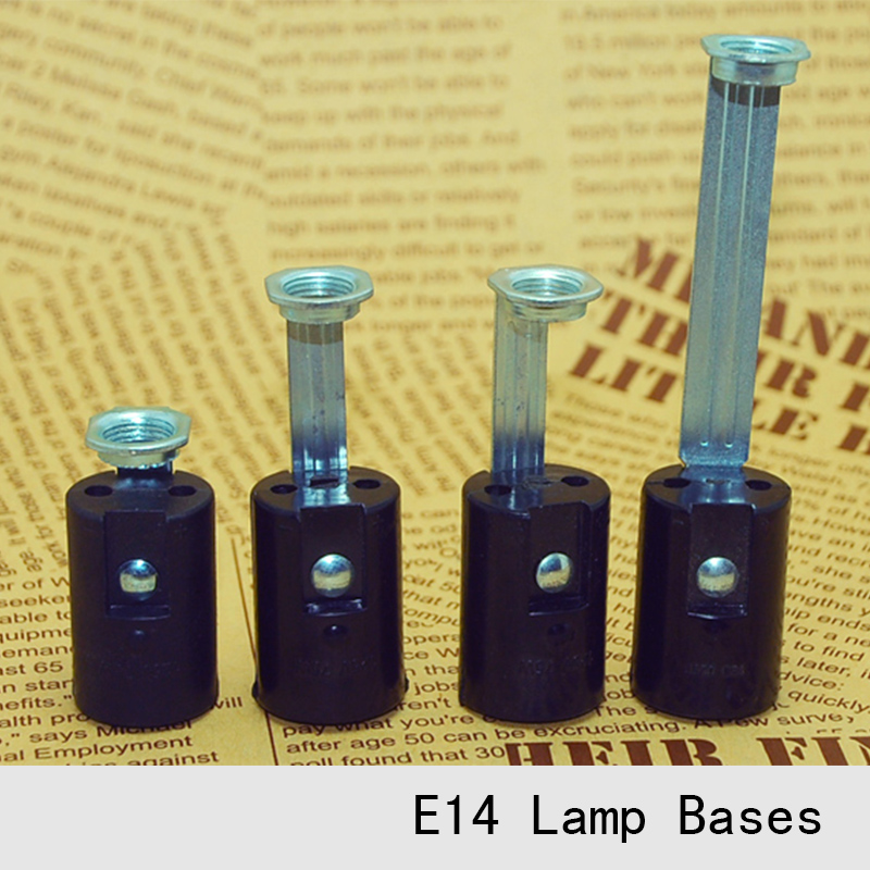 Black Lamp Bases E14 Candle Lamp Holders Edison Screw Caps Pendant Light Lamps Socket DIY Light Accessories 12PCS free shipping