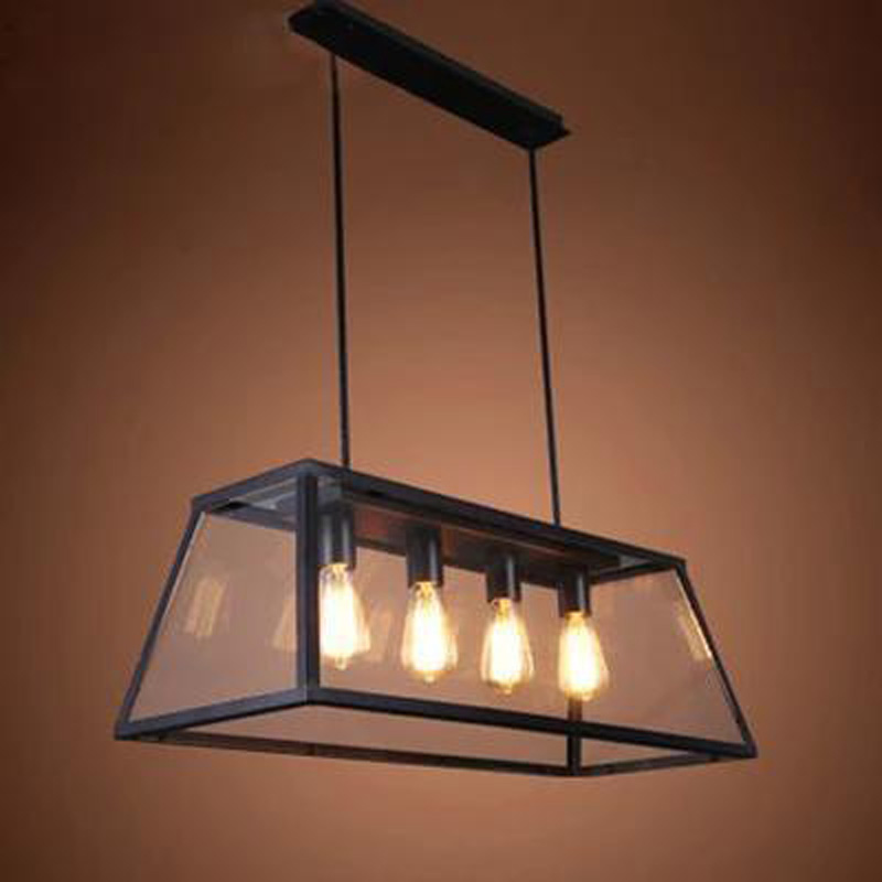 Loft rectangular creative iron chandelier industrial wind American retro living room restaurant Edison bulb glass box lighting european style retro glass chandelier north village industrial study the living room bedroom living rough bar lamp loft
