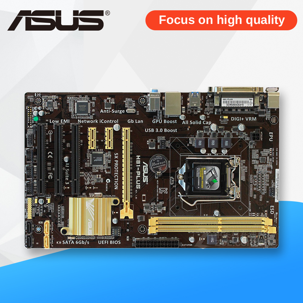 Asus H81-PLUS Desktop Motherboard H81 Socket LGA 1150 i7 i5 i3 DDR3 16G SATA3 UBS3.0 ATX asus h81 plus desktop motherboard h81 socket lga 1150 i7 i5 i3 ddr3 16g sata3 ubs3 0 atx second hand high quality
