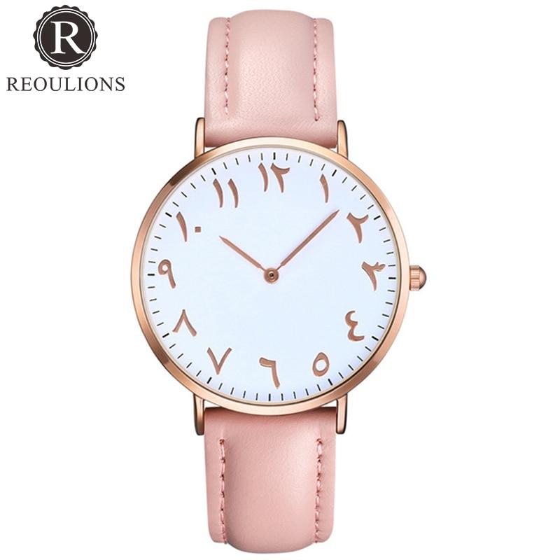 REOULIONS Mode Arabische Zahlen Frauen Uhr Damen Quarzuhr Luxury Brand Leder Armbanduhr Kleid Uhr Relogio Feminino