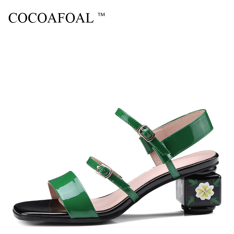 COCOAFOAL Women Green Sandals Plus Size 34 - 43 Genuine Leather High Heels Sandals Sexy Peep Toe Summer Black Casual Pumps 2018 enmayer summer women fashion sandals pumps shoes rhinestone peep toe zip thin heels platform large size 34 43 black orange green