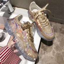 2019 New Sequined Cloth Women's Platform Dad Sneakers Fashion Women Transparent sole Flat Walking Shoes Woman Casual Footwear